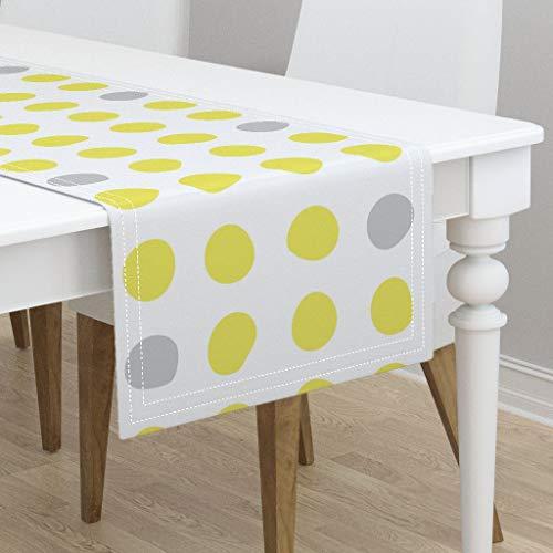 Mod Dot Circles - Table Runner - Grey Gray Dots Yellow Circles Safflower Lemon Mod by Wren Leyland - Cotton Sateen Table Runner 16 x 72