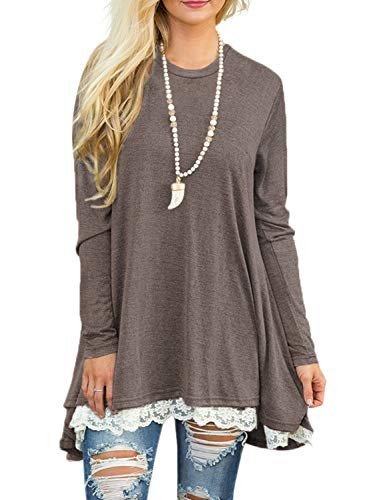 (Sanifer Women Lace Long Sleeve Tunic Top Blouse (Medium, Coffee))
