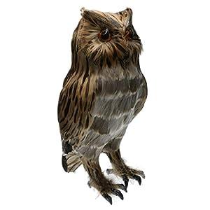 MagiDeal Artificial Owl Bird Feather Realistic Taxidermy Home Garden Decor 92
