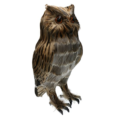 MagiDeal Artificial Owl Bird Feather Realistic Taxidermy Home