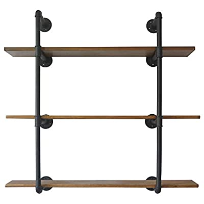 PUNCIA 48inx8inx3Tiers Industrial Farmhouse Rustic Pipe Floating Long Wall Solid Wood Book Food Tool Storage Shelf Organizer Shelves for Kitchen Office Living Room Home (Brown) - ★ Super Practical:Our 3 Tiers Long and Cool Looking Industrial Pipe Storage Shelves, Adds an Vintage Style and More Vertical Storage to Your Kitchen ,Living Room, Bedroom or Office Space.This Floating Wooden Pipe Wall Shelves is Suitable for Store Books, Decorations, Potting and Any Other Small Items, It Ban Saving Much More Your Room Space . ★ Super Long : Pine Board Size: 48'L x 8''W x 0.8''H. Item Display Size 48''L x 37''W x 10''D. Height Between Shelves: 12-Inch Without Adjustable. Pipe Size:⌀1in .You Can Store More Item On This Shelf.We take much more new room space .You will have more space to take your book,metal ,toys,model and others. ★ Nature & Health:The Planks Made of Pine Boards, Each Board With Different Tree Texture ,You Will closer nature.We use health Paint for board and you won't have bad smell in your room. - wall-shelves, living-room-furniture, living-room - 41rK7SuMNLL. SS400  -