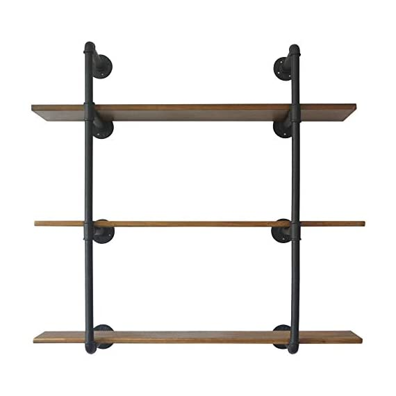 Puncia 48in Pipe Solid Wood Heavy Duty Kitchen Book Wall Floating Shelves, Long Wall Wooden Kitchen Bookcase Shelf, Farmhouse Decor Display Shelf (48in8in0.8in3Tiers) - ★ Super Practical:Our 3 Tiers Long and Cool Looking Industrial Pipe Storage Shelves, Adds an Vintage Style and More Vertical Storage to Your Kitchen ,Living Room, Bedroom or Office Space.This Floating Wooden Pipe Wall Shelves is Suitable for Store Books, Decorations, Potting and Any Other Small Items, It Ban Saving Much More Your Room Space . ★ Super Long : Pine Board Size: 48'L x 8''W x 0.8''H. Item Display Size 48''L x 37''W x 10''D. Height Between Shelves: 12-Inch Without Adjustable. Pipe Size:⌀1in .You Can Store More Item On This Shelf.We take much more new room space .You will have more space to take your book,metal ,toys,model and others. ★ Nature & Health:The Planks Made of Pine Boards, Each Board With Different Tree Texture ,You Will closer nature.We use health Paint for board and you won't have bad smell in your room. - wall-shelves, living-room-furniture, living-room - 41rK7SuMNLL. SS570  -