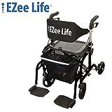 Ezee Life Folding Rollator Walker Transport Wheel Chair - Flip Back Combo Rollator