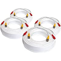 (4) Pack of 200ft 200 Feet All-In-One Siamese CCTV Security Camera BNC Video and Power Cable for Surveillance System