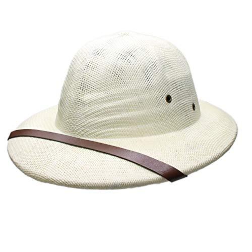 Novelty Women Men Hard Straw Helmet Pith Sun Hats for Army Boater Bucket Hats Safari Jungle Miners Cap 56-59CM Ivory