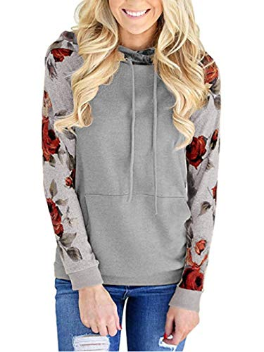 al Hoodie Long Sleeve Hooded Sweatshirt Pullover Cozy Fall Colorblock Ralgan Shirt Grey-4 S ()