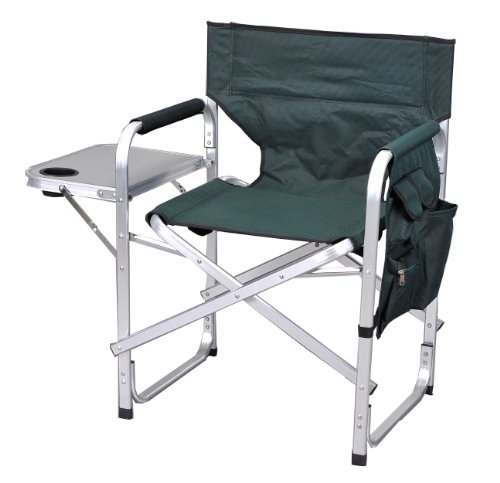 Folding Chairs Green Outdoor - Folding Camping Fishing sports Directors Chair with side table 1204Green (Green)