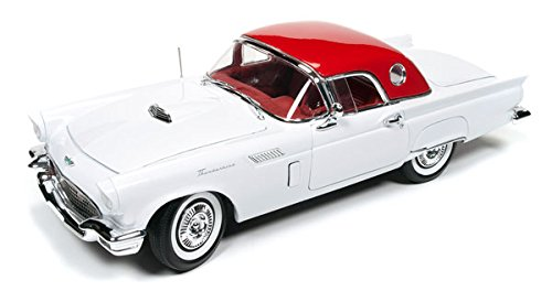 (NEW DIECAST TOYS CAR AUTO WORLD 1:18 AMERICAN MUSCLE 1957 FORD THUNDERBIRD HOLIDAY MUSCLE EDITION WHITE COLOR AMM1089)