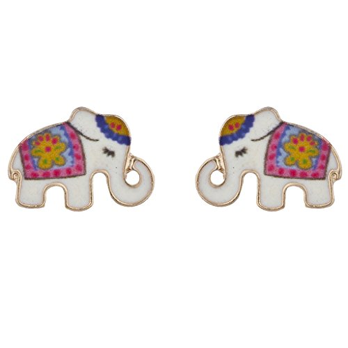 Lux Accessories Enamel Indian Folk Art Floral Elephant Novelty Stud Earrings - Gold Enamel Elephant