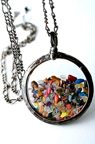 Handmade Floating Pendant, Tiny Polished Gemstones Encased in Vintage Pocket Watch Crystals Confetti Necklace 2413