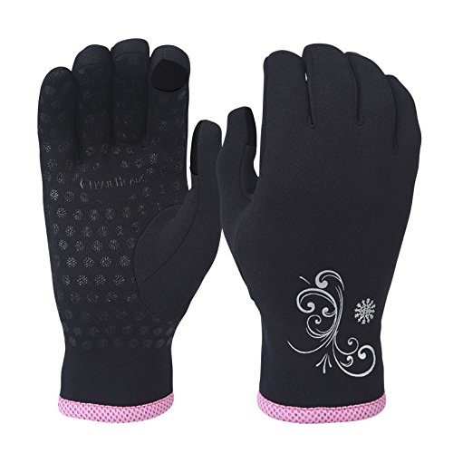 TrailHeads Women's Power Stretch Running Gloves - black/fast pink (medium) (Thermal Conductive Gloves compare prices)