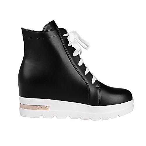 Chaussures À Lacets Bout Rond À Talons Hauts Bout Ouvert À Talons Hauts Femme Allhqfashion Noir