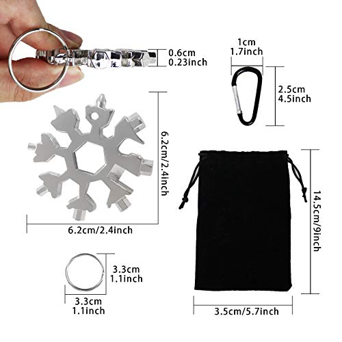 Snowflake Multi-tool,2 Pcs 18-in-1 Snowflake Standard Multi Tool, Stainless Steel Snowflake Wrench with Carabiner Clip, Key Ring and Storage Bag,Durable and Portable to Take