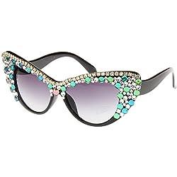 WU-Sunglasses Unisex Gafas de Sol para Mujer Clase Hecha a Mano Colorido Cristal Gato Ojos Gafas de Sol polarizadas de señora Playa de Cristal sin Montura