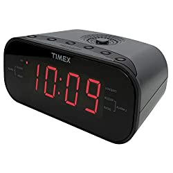 Timex T231GY AM/FM Dual Alarm Clock Radio with 1.2-Inch Red Display and Line-In Jack (Gunmetal) (Renewed)