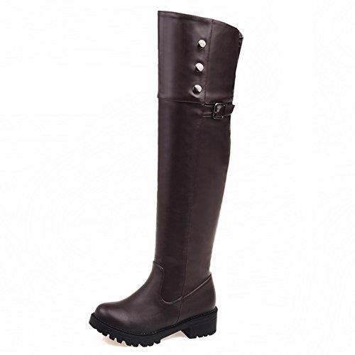 à à à boucles rond brun Decostain à bout femmes genou bottes du fermeture hauteur glissière dw8RqP