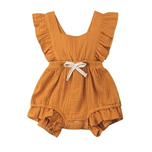 YOUNGER TREE Toddler Baby Girl Ruffled Collar Sleeveless Romper Jumpsuit Clothes (Yellow, 3-6 Months)