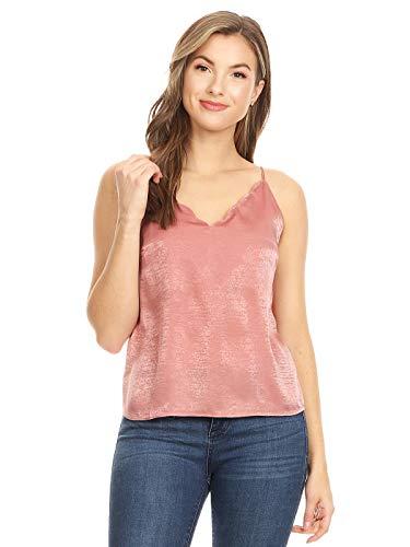 (Anna-Kaci Womens Casual Cute Scalloped Neckline Adjustable Spaghetti Strap Plain Silk Satin Camisole Halter Tank Crop Tops T-Shirt Blouse, Pink, Small)