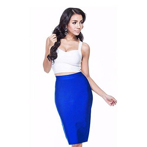 Skirt HLBandage Length High Bleu Bandage Wait Rayon Knee YPPSCwRnxq
