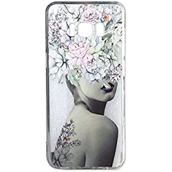 Galaxy S8 Case for Girls Clear with Lovely Flowers Tattoo Lady Design Shockproof Bumper Protective Cases for Samsung Galaxy S8 Dust Proof Plug Silicone Slim Floral Pattern Print Rubber Cover Women