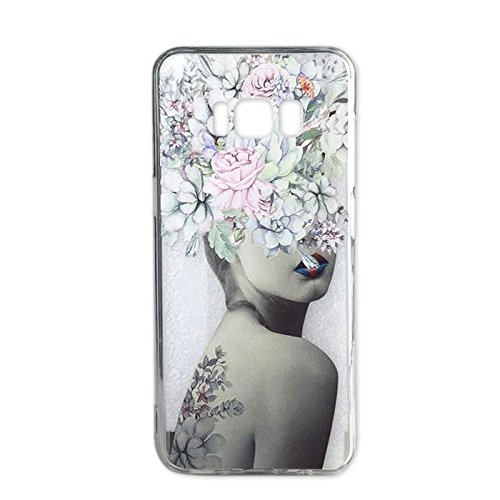 Galaxy S8 Case Girls Clear Lovely Flowers Tattoo Lady Design Shockproof Bumper Protective Cases Samsung Galaxy S8 Silicone Slim Floral Pattern Print Rubber Cover Women