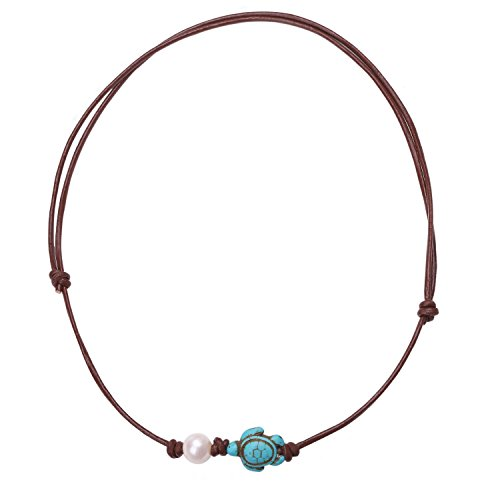 Knot Slip - PearlyPearls 18'' Freshwater Cultured Pearl Choker Necklace with Turquoise Turtle on Leather Cord for Women Light Brown