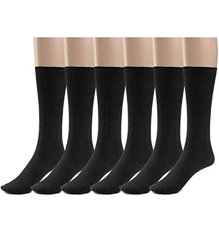 Silky Toes 3 or 6 Pk Men's Diabetic Non-Binding Cotton Dress Socks, Multi Colors Also Available in Plus Sizes... (10-13, Black - 6 Pairs)