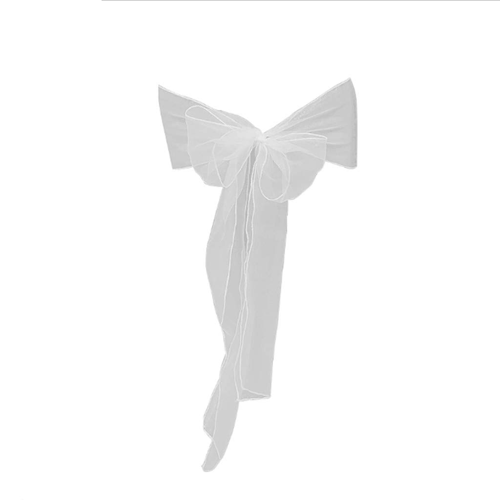 Chiccc Flower Bow Chair Back Cover Net Sash Back Ties Elegant Party Decor Multi-Color