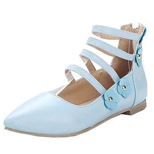 COOLCEPT Mujer Moda Gladiator Plano Bombas Zapatos Hija Colegio Zapatos con Flor Extra Tamano Azul