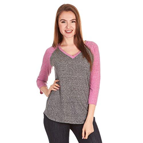X America Junior and Plus Size Raglan Baseball Tee, 3/4 Sleeve Shirts for Women, Made in USA Black/Magenta