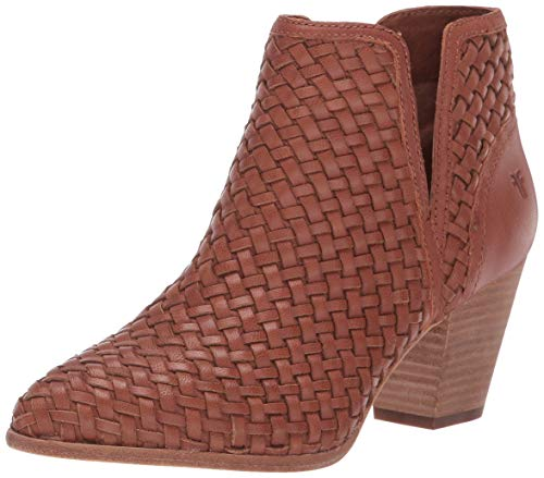 FRYE Women's Reed Cut Out Woven Bootie Ankle Boot, Cognac, 10 M US