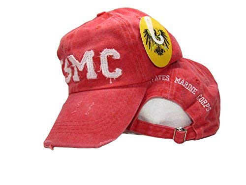 (Ball Cap: New Hat Red Washed USMC US Marine Corps Embroidered Cap Licensed USMC)