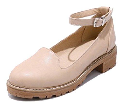 Cinturino Alla Caviglia Alla Moda Donna Easemax Alla Caviglia Con Tacco Medio Scarpe Con Tacco Medio Beige