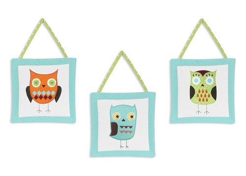 Sweet Jojo Designs Turquoise and Lime Hooty Owl Wall Hanging Accessories