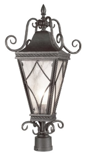 Eurofase 17465-014 Mavis 1-Light Post Mount, Textured Charcoal/Mottled Clear - Mavis 1 Light