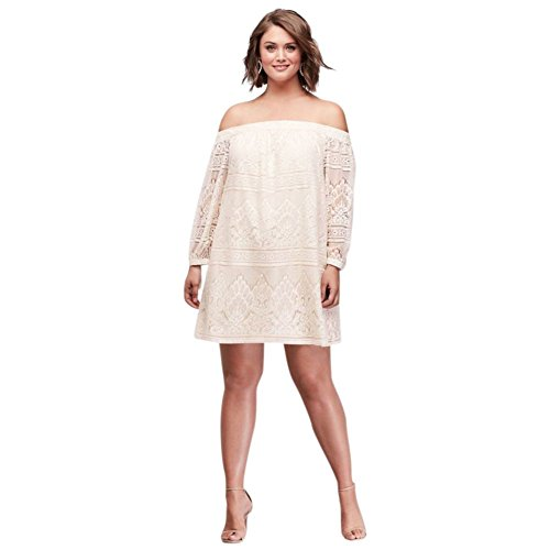 Davids Bridal Off The Shoulder Plus Size Lace Mini Dress Style