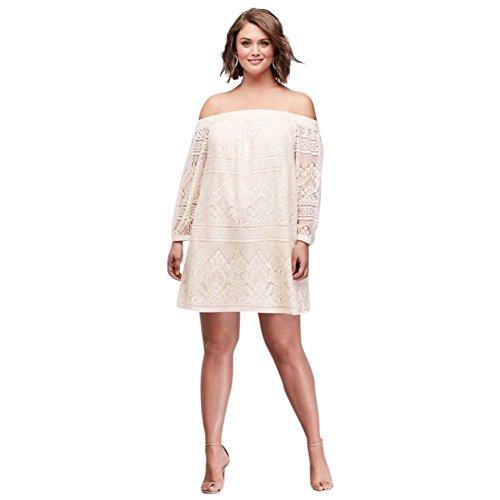 David S Bridal Plus Size Wedding Gowns: David's Bridal Off-The-Shoulder Plus Size Lace Mini Dress
