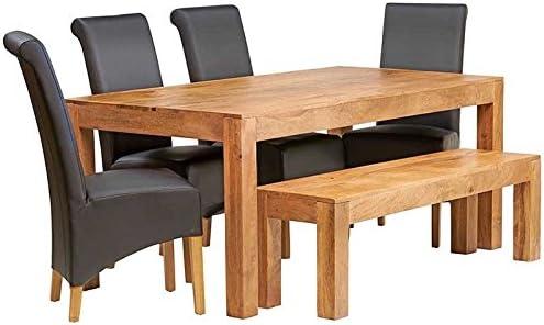 Indiwood Cuba Mango luz 6 pies (180 cm) Gran Juego de Mesa de Comedor con Banco y 4 sillas de Piel: Amazon.es: Hogar