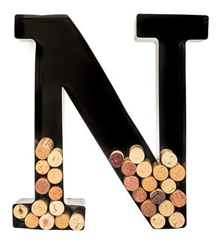 Wine Cork Holder - Metal Monogram Letter (N) (Cork Holder Wooden Wine)