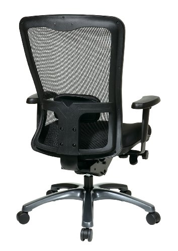 Office Star ProGrid Mesh Back and Padded Coal FreeFlex Seat, Adjustable Arms and Lumbar, Titanium Finish Base Adjustable High Back Chair, Black by Office Star (Image #2)