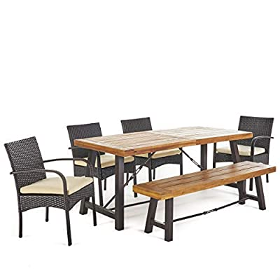 Christopher Knight Home 302558 Belham Outdoor 6 Piece Acacia Wood Dining Set W, Teak Finish + Rustic Metal + Multibrown + Crème - This clean and simple Dining set combines the functionality of wood and iron with the comfort of wicker. Complete with a Table, bench, and 4 wicker dining chairs, this set offers comfortable seating for 6 in the great outdoors. Sure to complement any patio décor, This Dining set offers you a stylish wooden design with the functionality of an iron framework and comfortable Wicker chairs,  to give you a weather resistant Set that will last your for years to come. Includes: one (1) Table, one (1) Bench, and four (4) chairs Table and bench material: Acacia wood table and bench frame material: Metal chair Material: Polyethylene wicker chair cushion material: Water resistant fabric composition: 100% polyester chair frame material: iron Table and bench finish: teak table and bench frame finish: rustic metal wicker finish: Multibrown cushion color: crème assembly required Hand crafted details Table dimensions: 33. 00 inches deep x 70. 00 inches wide x 29. 50 inches high bench Dimensions: 14. 50 inches deep x 63. 00 inches wide x 17. 75 inches high Seat width: 14. 57 inches Seat Depth: 63. 00 inches Seat Height: 17. 72 inches Chair dimensions: 23. 50 inches deep x 22. 10 inches wide x 32. 75 inches high Seat width: 18. 25 inches Seat Depth: 18. 25 inches Seat Height: 16. 50 inches Arm Height: 24. 60 inches - patio-furniture, dining-sets-patio-funiture, patio - 41rKBsFDC6L. SS400  -
