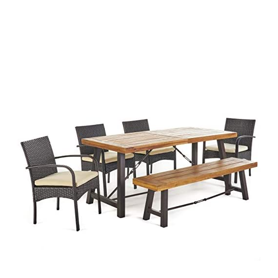 Christopher Knight Home Betsys Outdoor Acacia Wood Dining Set with Wicker Dining Chairs and Water Resistant Cushions, 6-Pcs Set, Teak Finish / Rustic Metal /  Multibrown / Crème - This clean and simple Dining set combines the functionality of wood and iron with the comfort of wicker. Complete with a Table, bench, and 4 wicker dining chairs, this set offers comfortable seating for 6 in the great outdoors. Sure to complement any patio décor, This Dining set offers you a stylish wooden design with the functionality of an iron framework and comfortable Wicker chairs,  to give you a weather resistant Set that will last your for years to come. Includes: one (1) Table, one (1) Bench, and four (4) chairs Table and bench material: Acacia wood table and bench frame material: Metal chair Material: Polyethylene wicker chair cushion material: Water resistant fabric composition: 100% polyester chair frame material: iron Table and bench finish: teak table and bench frame finish: rustic metal wicker finish: Multibrown cushion color: crème assembly required Hand crafted details Table dimensions: 33. 00 inches deep x 70. 00 inches wide x 29. 50 inches high bench Dimensions: 14. 50 inches deep x 63. 00 inches wide x 17. 75 inches high Seat width: 14. 57 inches Seat Depth: 63. 00 inches Seat Height: 17. 72 inches Chair dimensions: 23. 50 inches deep x 22. 10 inches wide x 32. 75 inches high Seat width: 18. 25 inches Seat Depth: 18. 25 inches Seat Height: 16. 50 inches Arm Height: 24. 60 inches - patio-furniture, dining-sets-patio-funiture, patio - 41rKBsFDC6L. SS570  -