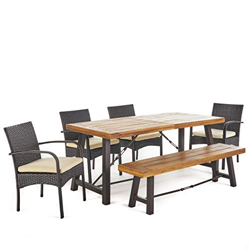 Christopher Knight Home 302558 Belham Outdoor 6 Piece Teak Finished Acacia Wood Dining Set with Multibrown W, Rustic Metal Cr me