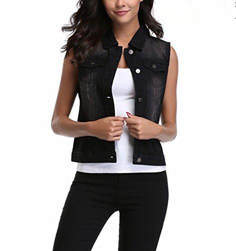 MISS MOLY Women's Sleeveless Frayed White Looking Lapel Denim Vest Button Up Dowm Denim Jacket Vests Coat w 2 Chest Pockets (Black Vest,M) (Pocket Chest Jeans)