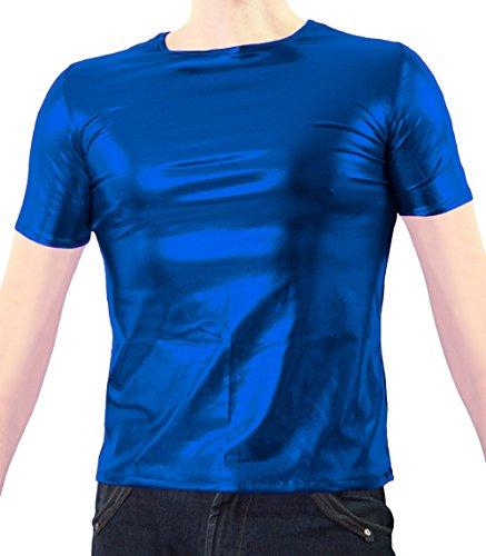 shirt T Abito Lucido Manica Blu Partito Metallico Sheface Discoteca Corta Unisex YqXHEf