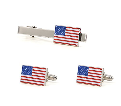 TONOS Big Sale-Exquisite American Flag Tie Clip and Cufflinks Set-Silver