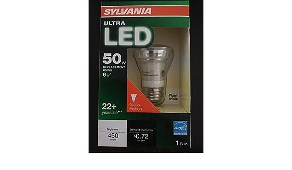 Sylvania Ultra LED 50w Replacement Using 6watt Glass Edition 22+ yr Life 450 Lumens 3000k - - Amazon.com