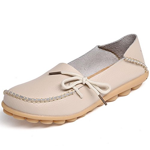 EQUICK Damen Leder Slipper Lässige Mokassin Driving Outdoor Schuhe Innen Flache Slip-On Slippers 01beige