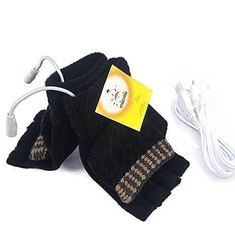 Unisex USB Heated Gloves Mitten Winter USB Powered Knitting Heated Laptop Gloves Half&Full Finger Mittens for Women Men Girls Boys- Best Winter Gift Choice (Women\'s Pink)