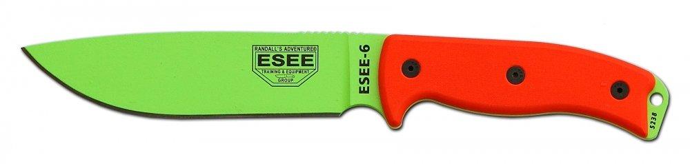 ESEE Knives 6P Fixed Blade Knife w/Molded Polymer Sheath (Venom Green Blade/Black Sheath) by ESEE
